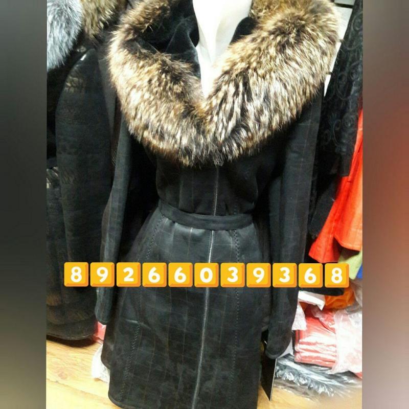 Женские Дубленки капюшон чернобурка