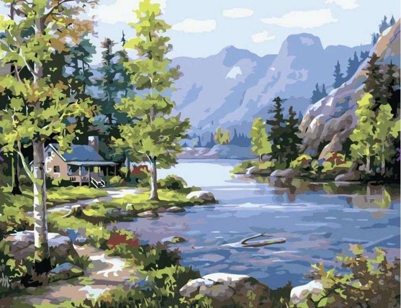 Картина по номерам на холсте Домик у озера